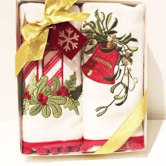 Набор кухонных полотенец в подарочной упаковке 40*60(2) Tivolyo Home RED CANDY хлопковая махра