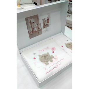 Подарочный набор детских полотенец Tivolyo Home FISHY хлопковая махра 50х90, 70х130 розовый