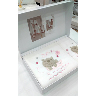 Подарочный набор детских полотенец Tivolyo Home FISHY хлопковая махра 50*90, 70*130 (розовый)
