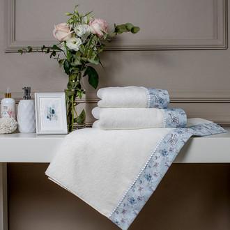 Подарочный набор полотенец для ванной 2 пр. Tivolyo Home GINEVRA хлопковая махра (кремовый)
