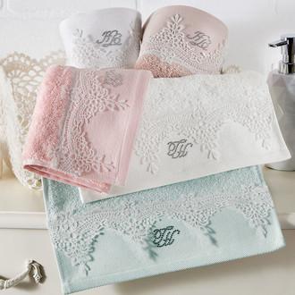 Подарочный набор полотенец для ванной 2 пр. Tivolyo Home JULIET хлопковая махра (кремовый)