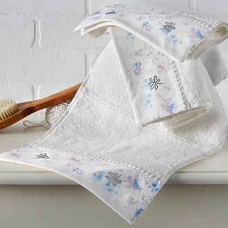 Подарочный набор полотенец для ванной 2 пр. Tivolyo Home IRIS хлопковая махра (кремовый)
