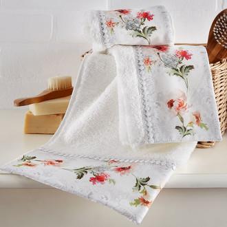 Подарочный набор полотенец для ванной 2 пр. Tivolyo Home NERO хлопковая махра (кремовый)