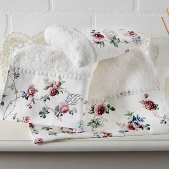 Подарочный набор полотенец для ванной 2 пр. Tivolyo Home ROSELAND хлопковая махра (кремовый)