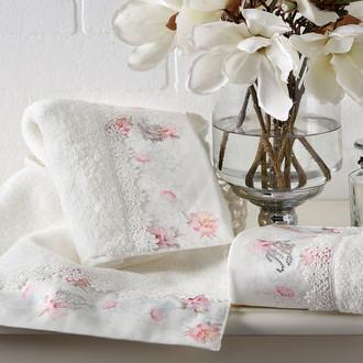 Подарочный набор полотенец для ванной 2 пр. Tivolyo Home VENICE хлопковая махра (кремовый)