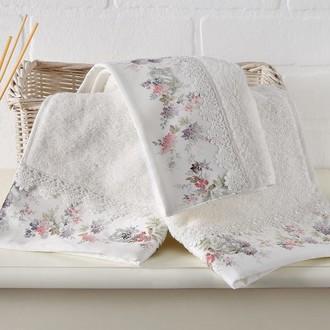 Подарочный набор полотенец для ванной 2 пр. Tivolyo Home VERSAILLES хлопковая махра (кремовый)