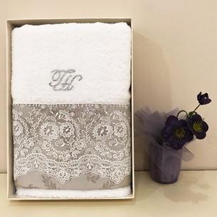 Полотенце для ванной в подарочной упаковке Tivolyo Home ARREDO DANTELLI хлопковая махра коричневый 50х100