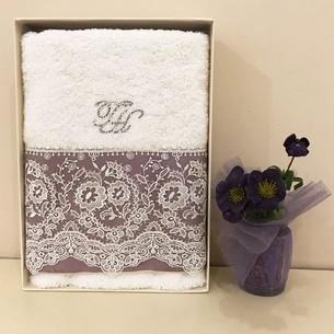 Полотенце для ванной в подарочной упаковке Tivolyo Home ARREDO DANTELLI хлопковая махра фиолетовый 50х100
