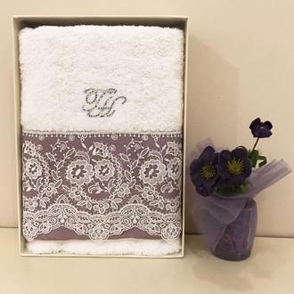 Полотенце для ванной в подарочной упаковке Tivolyo Home ARREDO DANTELLI хлопковая махра фиолетовый