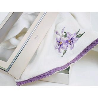 Полотенце для ванной в подарочной упаковке Tivolyo Home GIGLIO NAKISLI хлопковая махра (лиловый)