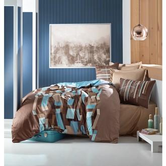 Комплект постельного белья Cotton Box SATEN MARTINO хлопковый сатин (коричневый+бирюзовый)