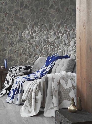 Плед-покрывало Karna STARS хлопок/акрил голубой 130х170, фото, фотография