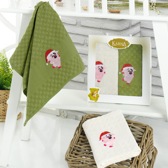 Подарочный набор полотенец для кухни 45*65(2) Karna ELMIN хлопковая вафля (V3)