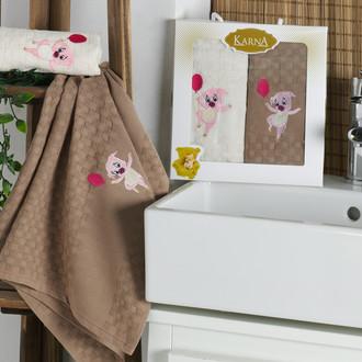 Подарочный набор полотенец для кухни 45*65(2) Karna SIMA хлопковая вафля (V3)
