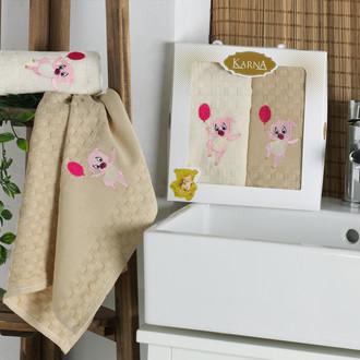 Подарочный набор полотенец для кухни 45*65(2) Karna SIMA хлопковая вафля (V2)