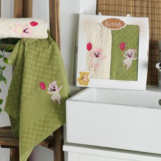 Подарочный набор полотенец для кухни 45*65(2) Karna SIMA хлопковая вафля (V1)