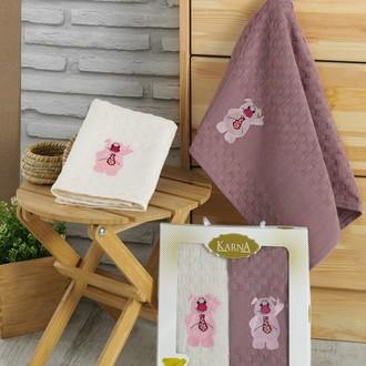 Подарочный набор полотенец для кухни 45*65(2) Karna GANI хлопковая вафля (V1)