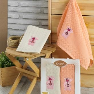 Подарочный набор полотенец для кухни 45*65(2) Karna GANI хлопковая вафля (V2)