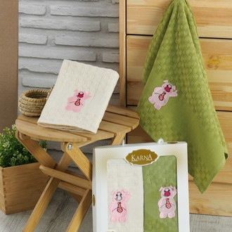 Подарочный набор полотенец для кухни 45*65(2) Karna GANI хлопковая вафля (V3)