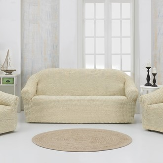 Набор чехлов без юбки на трёхместный диван и кресла 2 шт. Karna натурал