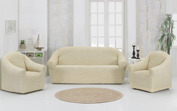 Набор чехлов без юбки на трёхместный диван и кресла (2 шт.) Karna (натурал), фото, фотография
