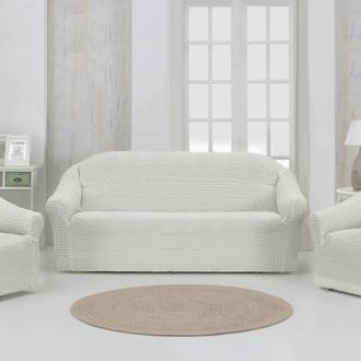 Набор чехлов без юбки на трёхместный диван и кресла (2 шт.) Karna (кремовый)
