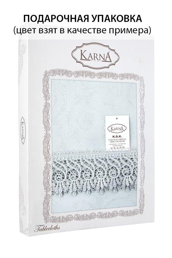 Скатерть овальная Karna KDK жаккард бежевый 160х280, фото, фотография