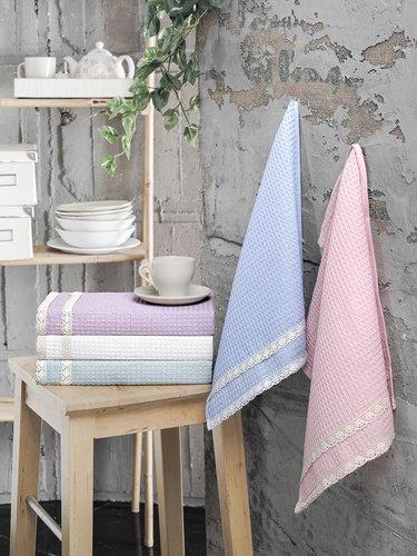 Подарочный набор полотенец для кухни 40х60 5 шт. Karna KOPENAKI хлопковая вафля V1, фото, фотография