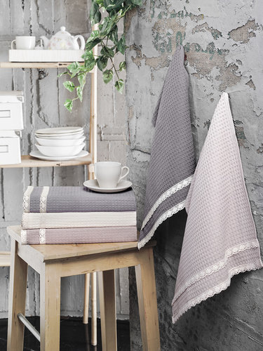 Подарочный набор полотенец для кухни 40х60(5) Karna KOPENAKI хлопковая вафля V2, фото, фотография