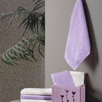 Подарочный набор полотенец-салфеток 30*30 6 шт. FLORI хлопковая махра фиолетовый