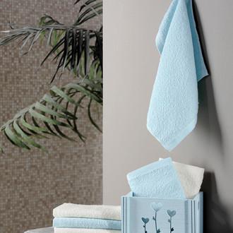 Подарочный набор полотенец-салфеток 30*30 6 шт. FLORI хлопковая махра светло-зелёный