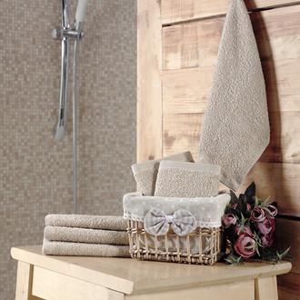 Подарочный набор полотенец-салфеток 30*30(6) PRUVA хлопковая махра (бежевый)