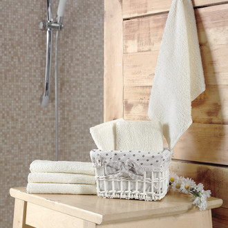 Подарочный набор полотенец-салфеток 30*30(6) PRUVA хлопковая махра (кремовый)