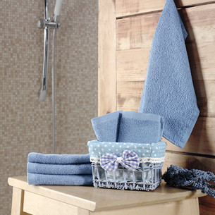 Подарочный набор полотенец-салфеток 30х30 6 шт. PRUVA хлопковая махра голубой