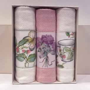 Подарочный набор кухонных полотенец Tivolyo Home BERGAMO хлопковая вафля кремовый