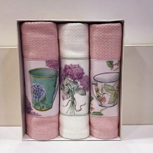 Подарочный набор кухонных полотенец Tivolyo Home BERGAMO хлопковая вафля розовый