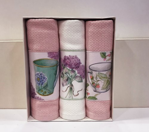 Подарочный набор кухонных полотенец Tivolyo Home BERGAMO хлопковая вафля розовый, фото, фотография