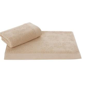 Набор полотенец для ванной 50*100, 75*150 Soft Cotton LEAF хлопковый микрокоттон (бежевый)