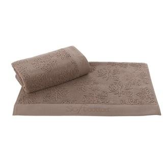 Набор полотенец для ванной 50*100, 75*150 Soft Cotton LEAF хлопковый микрокоттон (коричневый)