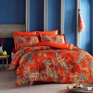 Постельное белье TAC PREMIUM DIGITAL MARISOL хлопковый сатин deluxe оранжевый семейный