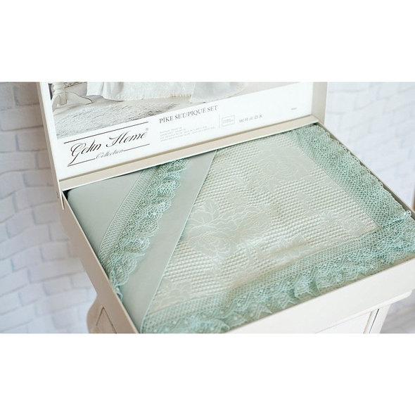 Постельное белье с вафельной простынью-покрывалом для укрывания (пике) Gelin Home NISAN хлопковый сатин deluxe (зелёный) евро, фото, фотография