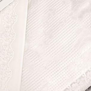 Постельное белье с вафельной простынью-покрывалом для укрывания пике Gelin Home NESLISAH ILKBAHAR хлопковый сатин deluxe кремовый евро