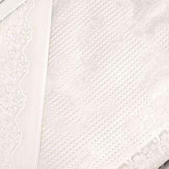 Постельное белье с вафельной простынью-покрывалом для укрывания (пике) Gelin Home NESLISAH ILKBAHAR хлопковый сатин deluxe (кремовый)