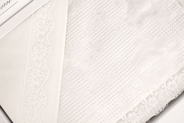 Постельное белье с вафельной простынью-покрывалом для укрывания пике Gelin Home NESLISAH ILKBAHAR хлопковый сатин deluxe кремовый евро, фото, фотография