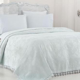 Комплект постельного белья с вафельной простынью-покрывалом для укрывания (пике) Gelin Home NESLISAH ILKBAHAR хлопковый сатин deluxe (бирюзовый)