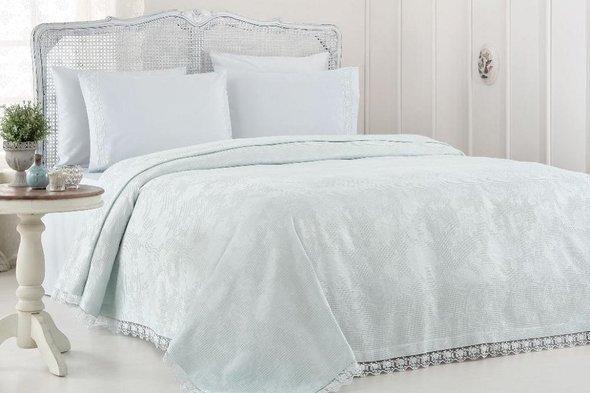 Комплект постельного белья с вафельной простынью-покрывалом для укрывания (пике) Gelin Home NESLISAH ILKBAHAR хлопковый сатин deluxe (бирюзовый) евро, фото, фотография