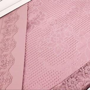 Постельное белье с вафельной простынью-покрывалом для укрывания пике Gelin Home NESLISAH ILKBAHAR хлопковый сатин deluxe грязно-розовый евро