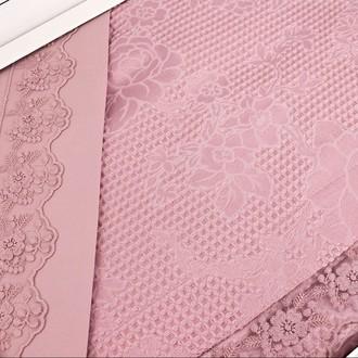 Постельное белье с вафельной простынью-покрывалом для укрывания (пике) Gelin Home NESLISAH ILKBAHAR хлопковый сатин deluxe (грязно-розовый)