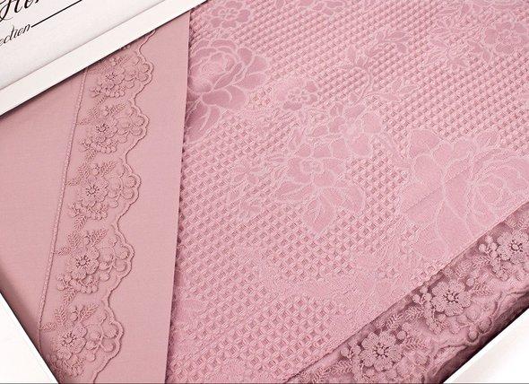 Комплект постельного белья с вафельной простынью-покрывалом для укрывания (пике) Gelin Home NESLISAH ILKBAHAR хлопковый сатин deluxe (грязно-розовый) евро, фото, фотография