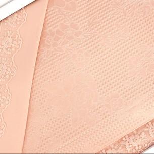 Постельное белье с вафельной простынью-покрывалом для укрывания пике Gelin Home NESLISAH ILKBAHAR хлопковый сатин deluxe персиковый евро